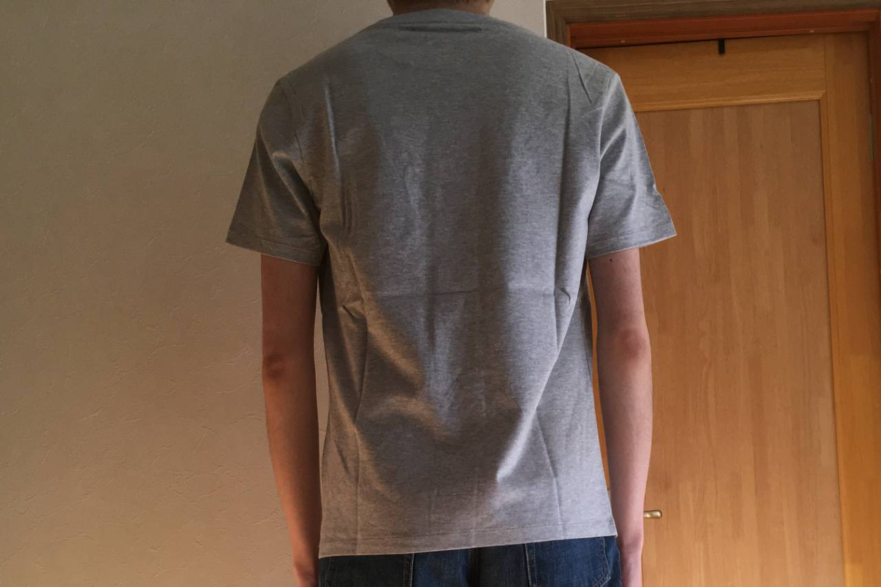 ZOZOの半袖クルーネックポケットTシャツ着用・グレー・後ろ姿