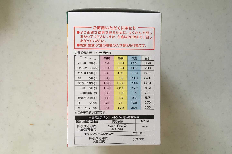 クリアスルーの栄養成分表示の画像