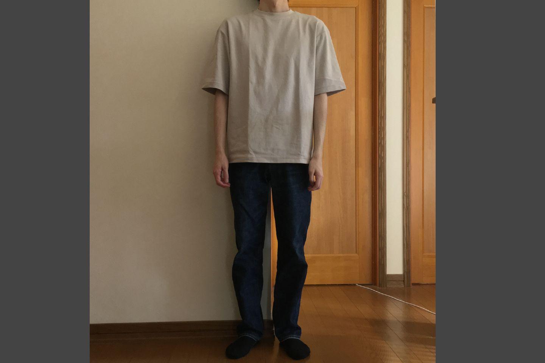 エアリズムコットンオーバーサイズTシャツのライトグレー着用画像(正面)
