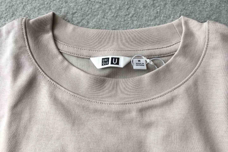 エアリズムコットンオーバーサイズTシャツの襟元画像