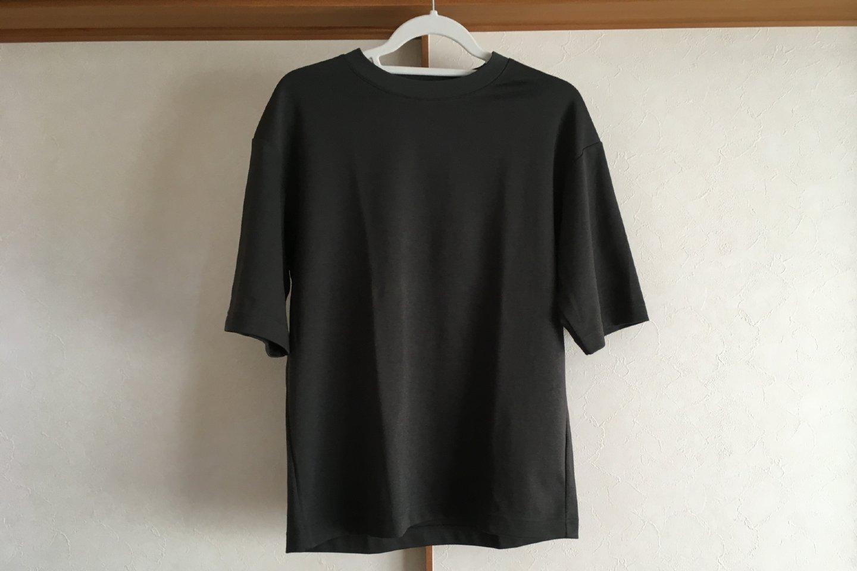 エアリズムコットンオーバーサイズTシャツのグレー正面画像(室内)